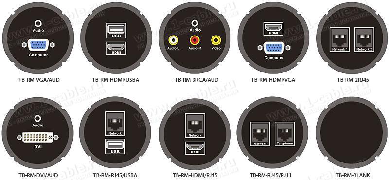 TB-RM-.. Модуль для блоков аудио-видео-мультимедиа розеток, серия Round Modular