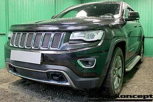 Защита радиатора Jeep Grand Cherokee (WK2) IV 2013- рестайлинг (Laredo, Limited) black верх PREMIUM (7 частей)