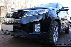Защита радиатора KIA Sorento 2012- black середина PREMIUM