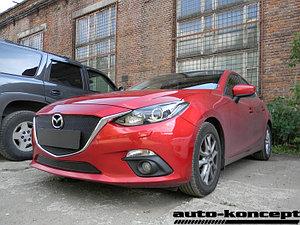 Защита радиатора Mazda 3 2013- black верх PREMIUM