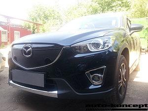 Защита радиатора Mazda CX5 2012-2014 black с парктроником верх PREMIUM