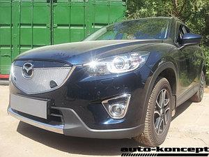 Защита радиатора Mazda CX5 2012-2014 chrome с парктроником верх PREMIUM