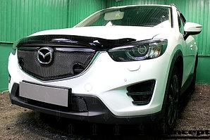 Защита радиатора Mazda CX5 2015-2017 3D black с парктроником верх PREMIUM