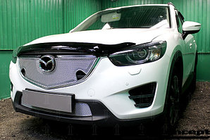 Защита радиатора Mazda CX5 2015-2017 3D chrome верх PREMIUM