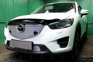 Защита радиатора Mazda CX5 2015-2017 3D chrome с парктроником верх PREMIUM