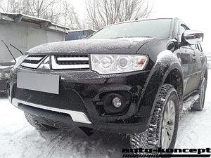 Защита радиатора Mitsubishi L200 2014-2015 (Калуга)/Pajero Sport 2013-2016 (Калуга) black PREMIUM
