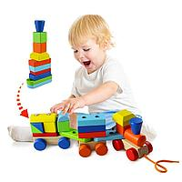 Деревянный поезд конструктор