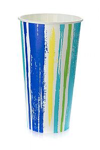 Стакан бумажный Полоски для хол. напитков, 500мл