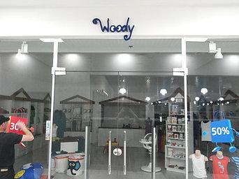 """Вывеска для бутика WOODY в ТРЦ """"Алмалы"""" 2"""