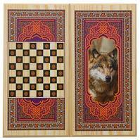 """Настольная игра деревянные нарды + шашки """"Волк"""" 60х30 см"""