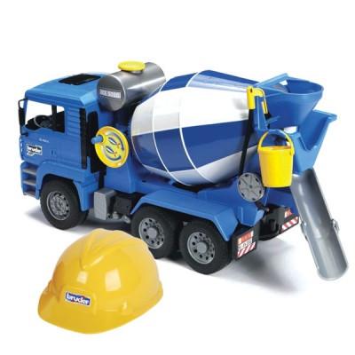 Бетономешалка MAN (цвет синий/серый) + Каска жёлтая
