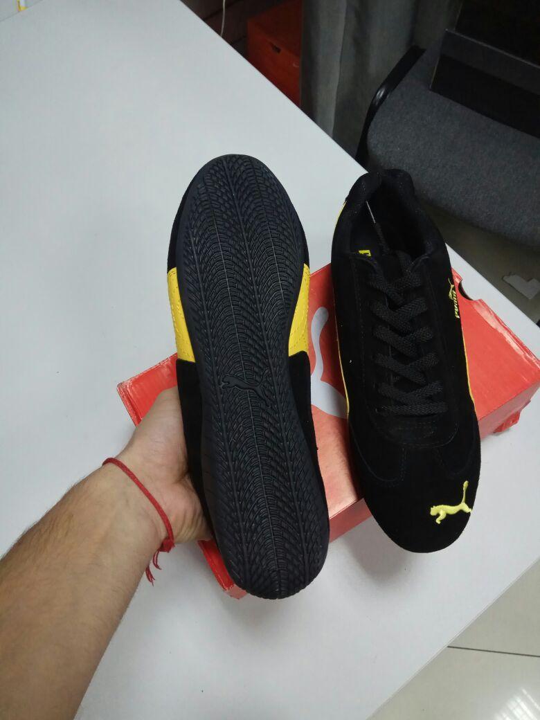 Кроссовки Puma Ferrari замшевые черно-желтые - фото 3