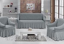 Натяжные чехлы на диван большой и 2 кресла. Цвет - серый