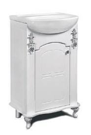 "Тумба под раковину ""Версаль""  50 см (белое патина серебро, голубое патина серебро). Настенное зеркало.Шкаф."