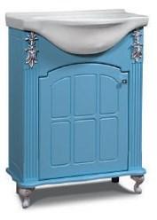"Тумба под раковину ""Версаль"" 65 см (белое патина серебро, голубое патина серебро). Настенное зеркало.Шкаф."