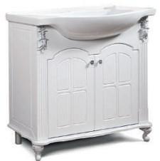 "Тумба под раковину ""Версаль"" 85 см (белое патина серебро, голубое патина серебро). Настенное зеркало.Шкаф., фото 2"