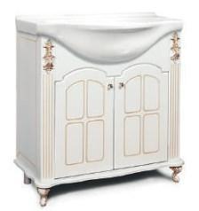 "Тумба под раковину ""Версаль""  65 см (белое патина золото, голубое патина золото). Настенное зеркало.Шкаф."