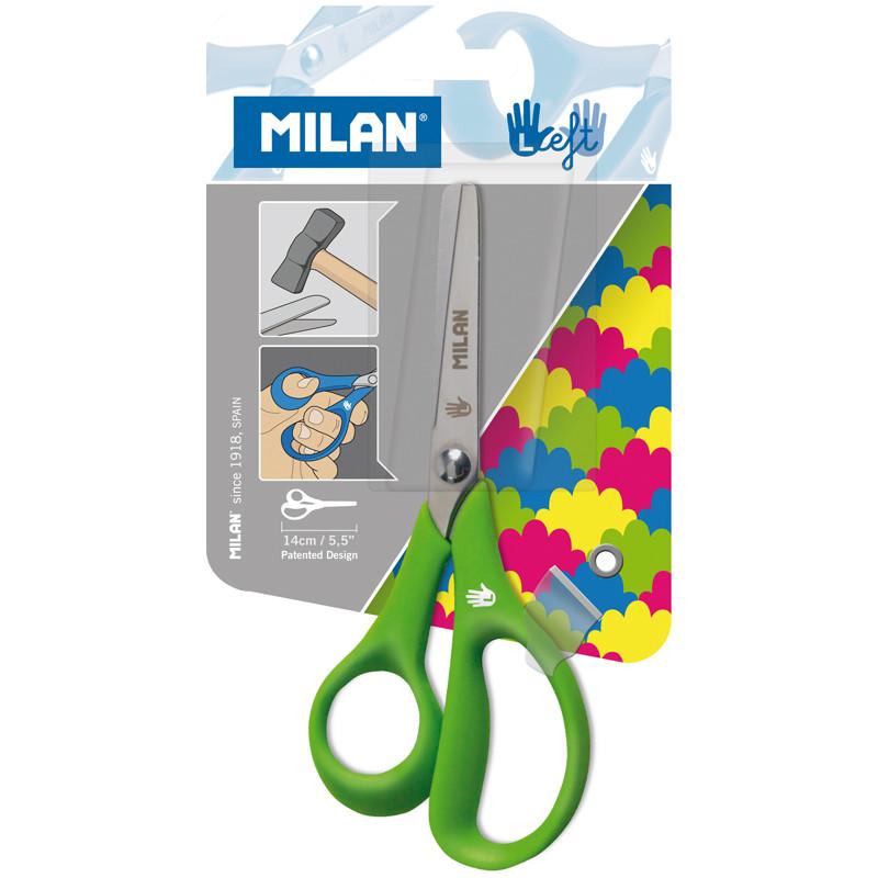 Детские ножницы для левшей Milan 14см, эргономичные ручки, европодвес