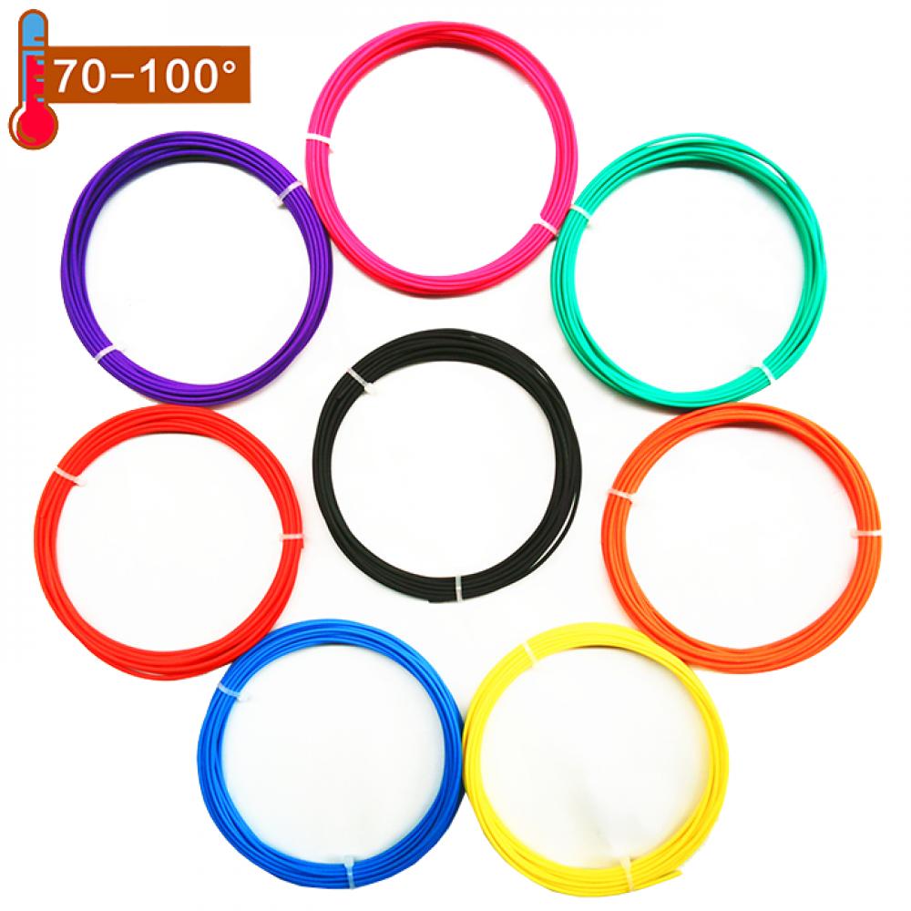 Набор пластика PCL в различных цветах 40м (8 цветов по 5м) + 5м светящегося в темноте