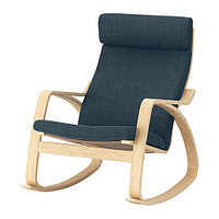 Кресло-качалка ПОЭНГ березовый шпон, Хилларед темно-синий ИКЕА, IKEA , фото 1