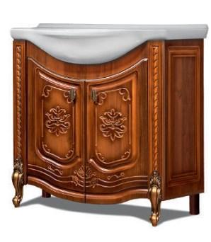 """Тумба под раковину """"Венеция"""" 85 см (Молочный дуб). Настенное зеркало.Шкаф."""