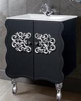 """Тумба под раковину """"Искушение"""" 62 см (черная,декор серебро). Настенное зеркало.Шкаф., фото 1"""