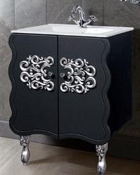 """Тумба под раковину """"Искушение"""" 62 см (черная,декор серебро). Настенное зеркало.Шкаф."""