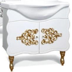 """Тумба под раковину """"Искушение"""" 85 см (белая,декор золото). Зеркало. Шкаф."""
