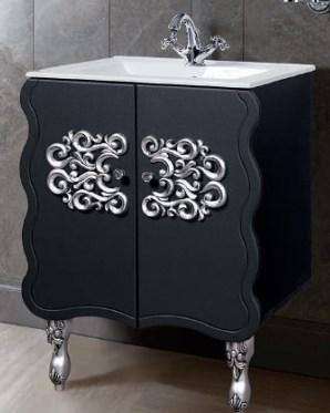 """Тумба под раковину """"Искушение"""" 85 см (черная,декор серебро). Настенное зеркало.Шкаф., фото 2"""