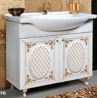 """Тумба под раковину """"Розалия"""" 85 см (белая,патина золото). Настенное зеркало.Шкаф."""