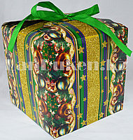 Подарочная новогодняя упаковка 17.5хh17.5 см (зеленая)