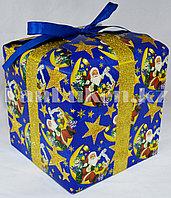 Подарочная новогодняя упаковка 17.5хh17.5 см (синяя)