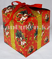 Подарочная новогодняя упаковка 17.5хh17.5 см (красная)