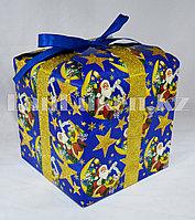 Подарочная новогодняя упаковка 13хh13 см (синяя)