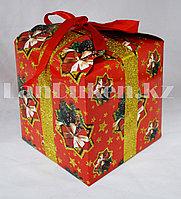 Подарочная новогодняя упаковка 13хh13 см (красная)
