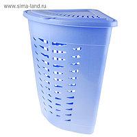 Корзина для белья угловая с крышкой 45 л, 38×38×56 см, цвет голубой