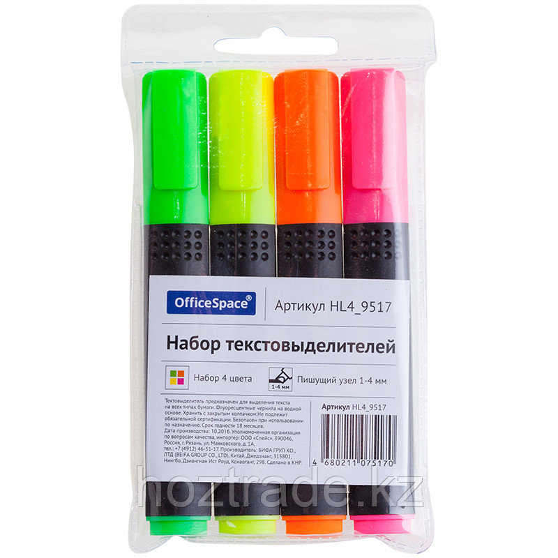Набор текстовыделителей OfficeSpace 4 цв., 1 - 4 мм, чехол с европодвесом
