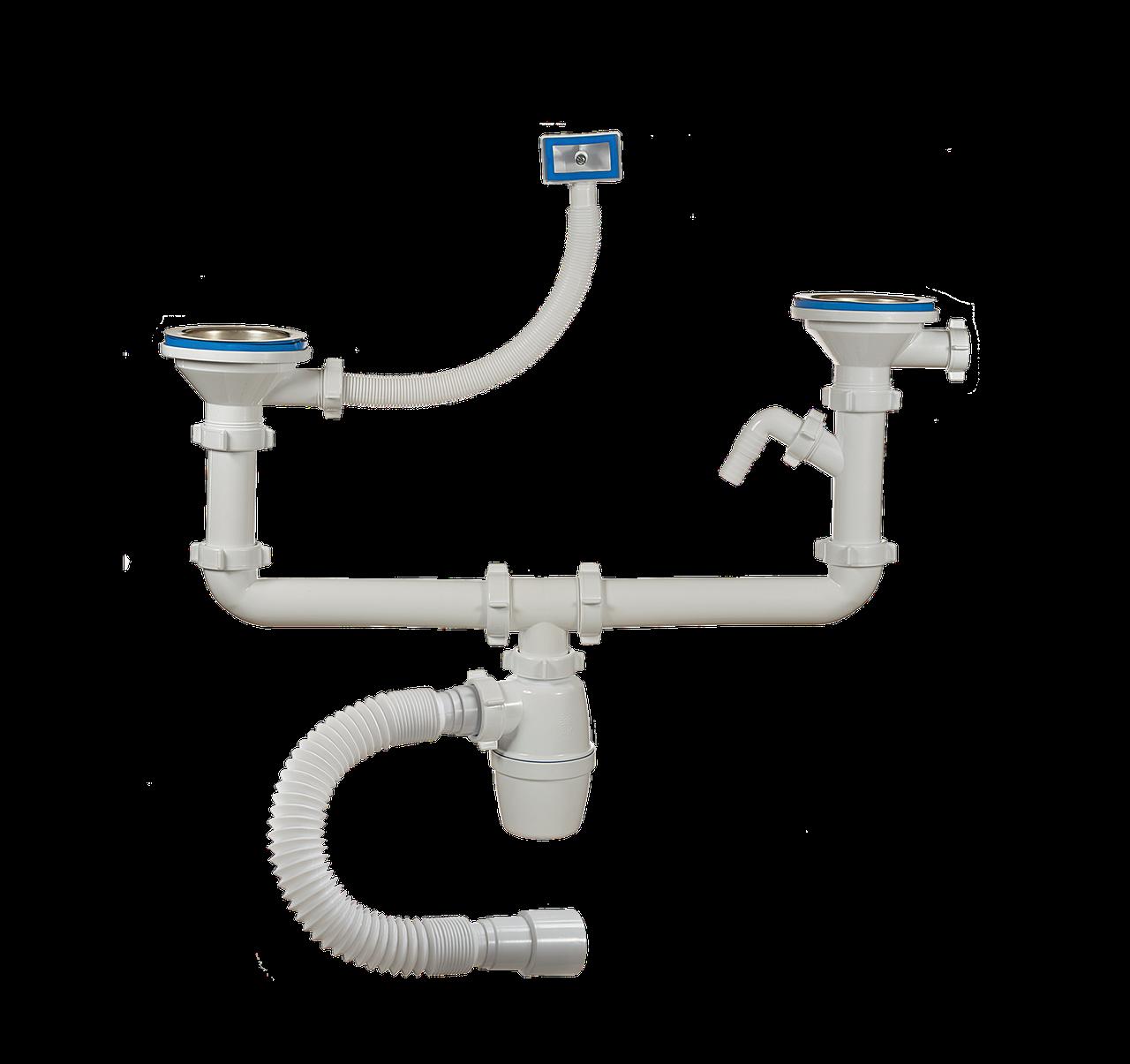 Сифон д/мойки двойной, 3 1/2 40,отвод, перелив, гиб.труба ORIO А-40092
