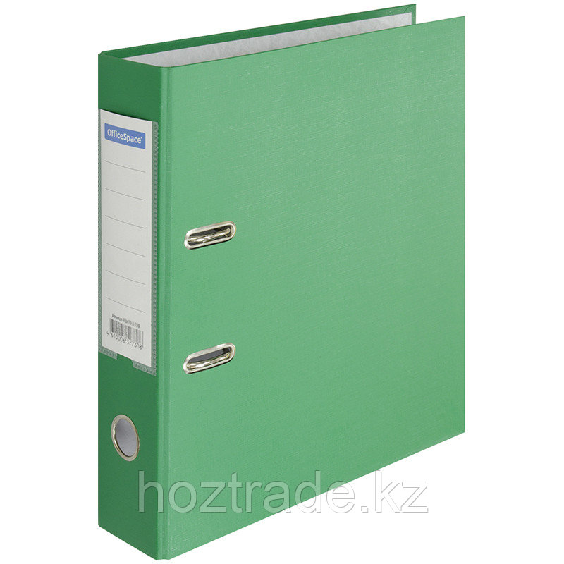 Папка регистратор OfficeSpace 7 см, с карманом, зеленая, бумвинил