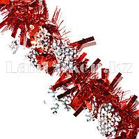 Мишура со снежинкой красная d=7 см