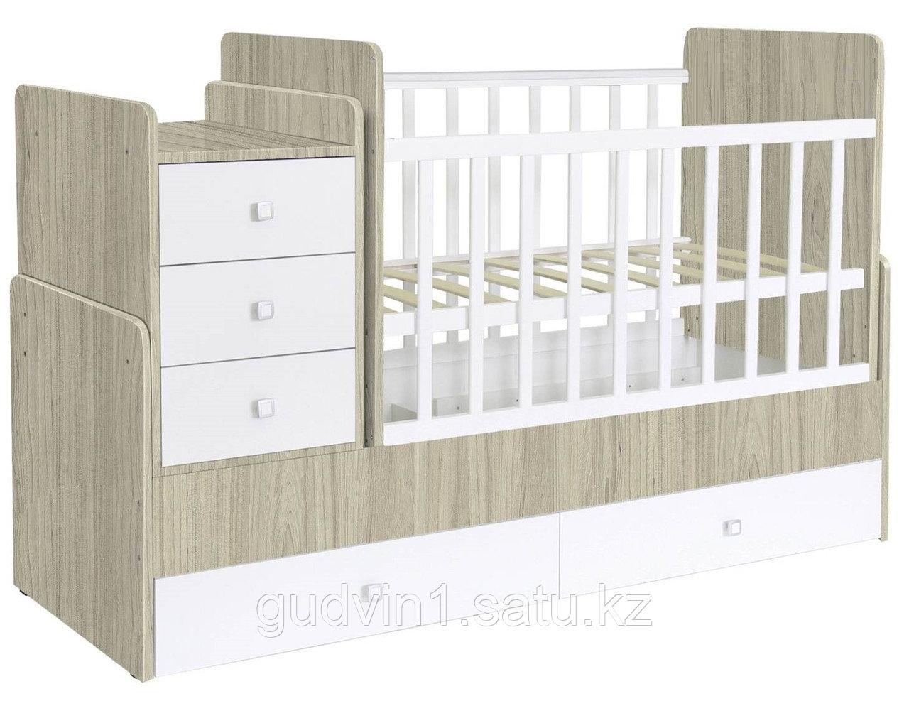 Детская кроватка-трансформер Фея 1100 вязь-белый 00-63127