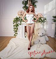 Белый атласный корсет
