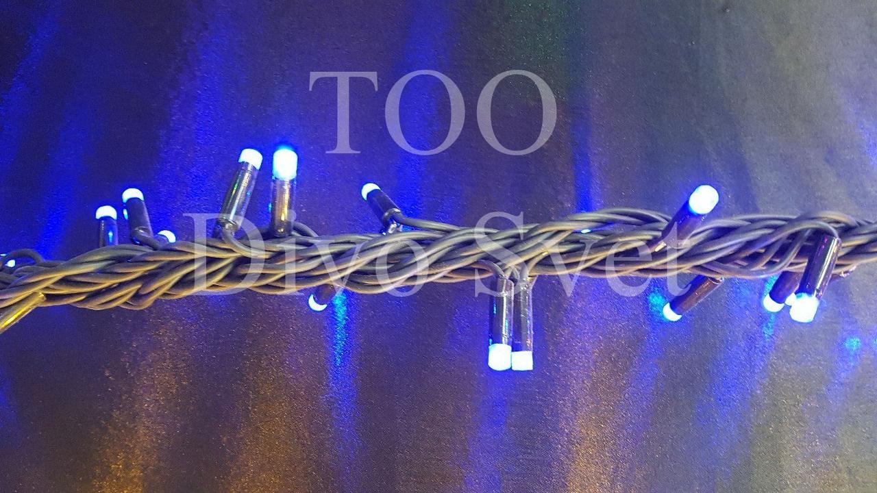 """Led гирлянда """"Нить"""" 10 м, черный толстый провод, не мигает, соедин. Золотистый, Синий"""