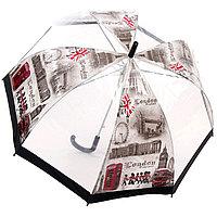 """Прозрачный женский зонт-трость полуавтомат """"LONDON"""", фото 1"""