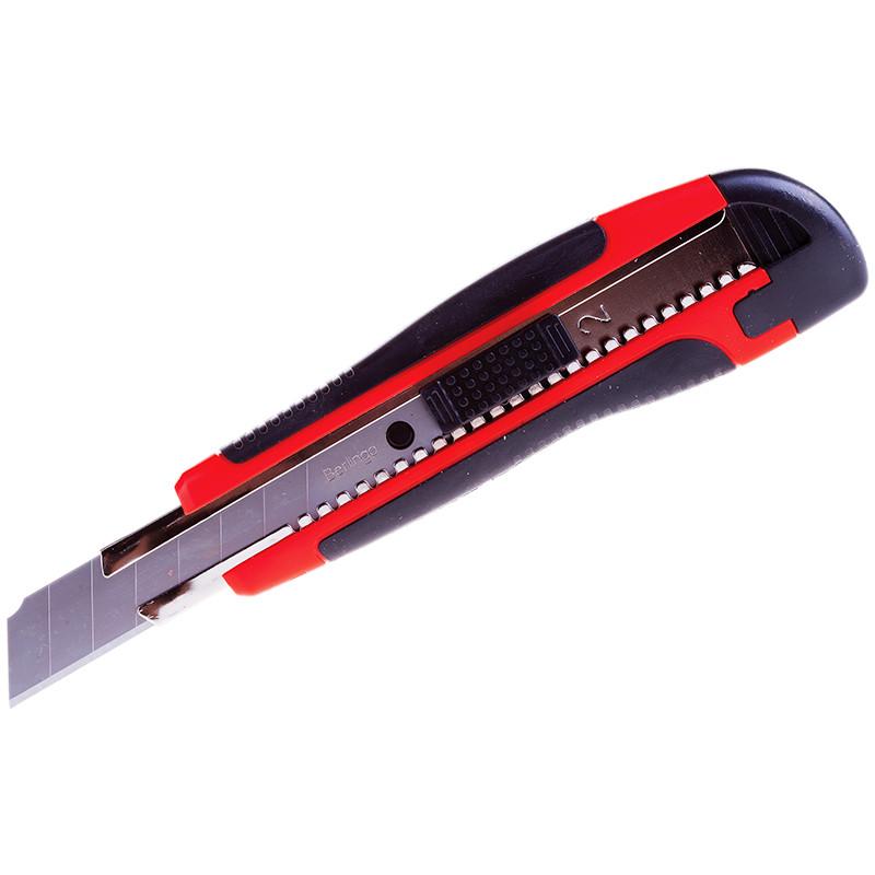 "Нож канцелярский 18мм Berlingo ""Comfort"", auto-lock, металл/направл., мяг. вст., 2 зап/лезвия, евро"