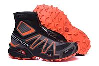 Зимние кроссовки Salomon Speedcross черно-оранжевые