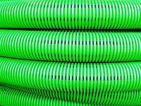 DKC Труба гибкая двустенная дренажная д.125мм, класс SN8, перфорация 360 град., цвет зеленый, фото 1