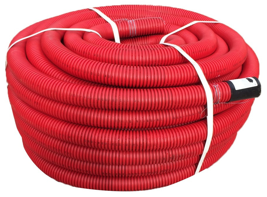 DKC Труба гибкая двустенная для кабельной канализации д.90мм, цвет красный, в бухте 50м., без протяжки - фото 1