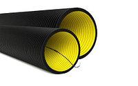 DKC Труба гибкая двустенная для кабельной канализации д.110мм, цвет черный, в бухте 50м., с протяжкой, фото 1