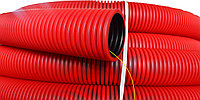 DKC Труба гибкая двустенная для кабельной канализации д.90мм, цвет красный, в бухте 50м., с протяжкой